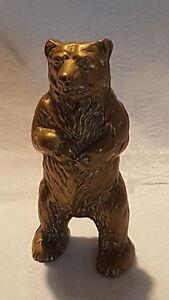 Brass vintage Victorian antique standing bear money box
