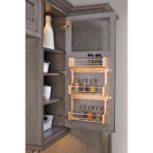 In-Cabinet Storage Rack Organizer Medium Door Mounted Wood 3-Shelf Spice Holder