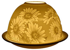Light-Glow Daisies Tealight Candle Holder Tea Light Dome Ceramic Votive Boxed