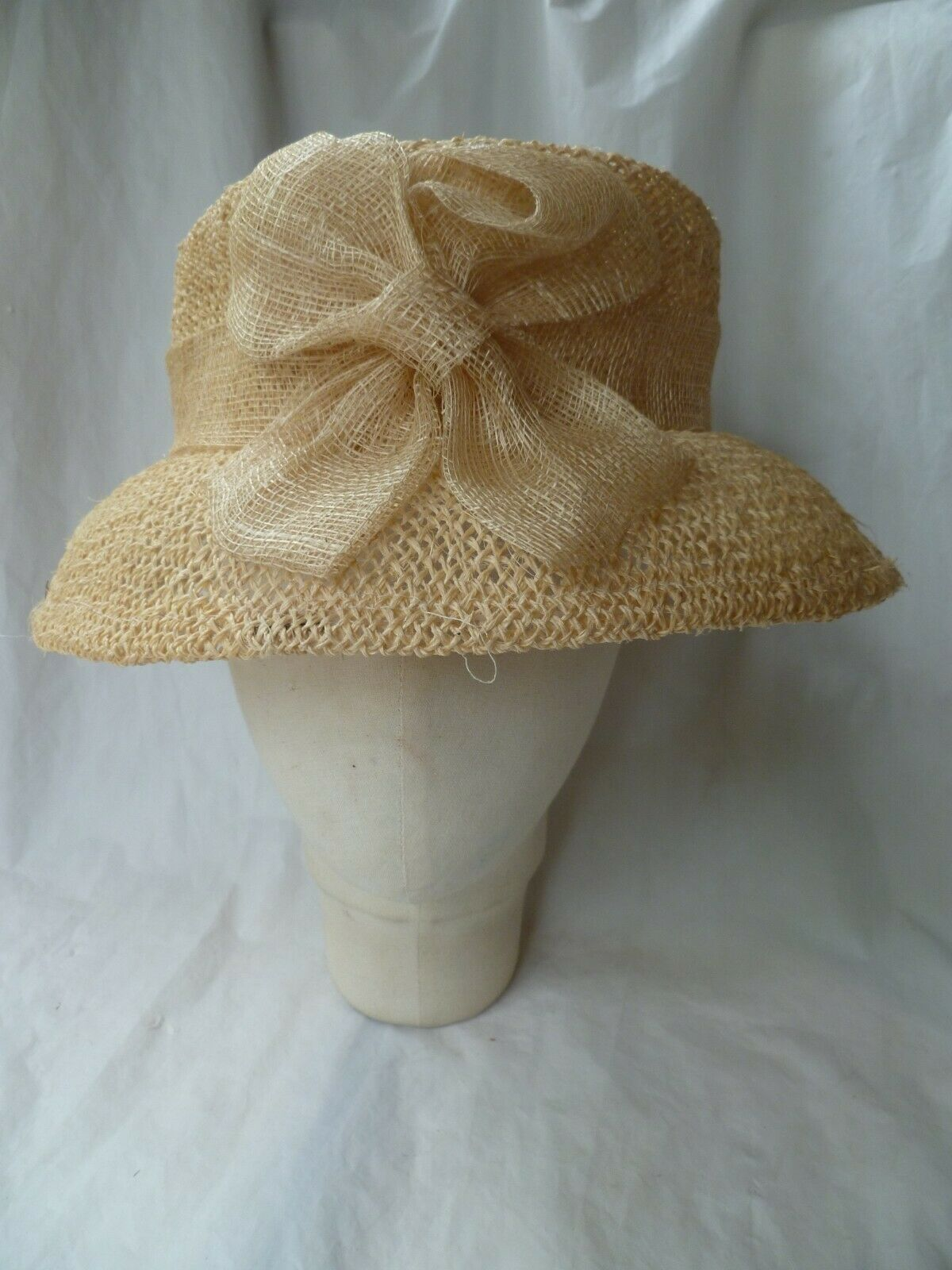 'Accessorize' Neutral Colour Straw Hat with Large bow and Turned Down Brim
