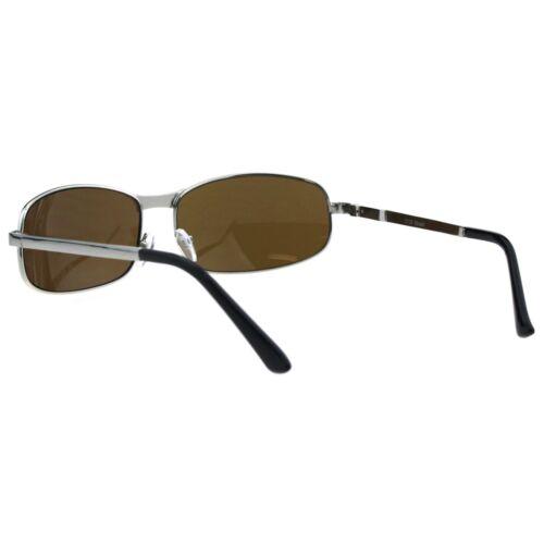 Mens Oval Narrow Rectangular Metal Rim Designer Racer Sunglasses