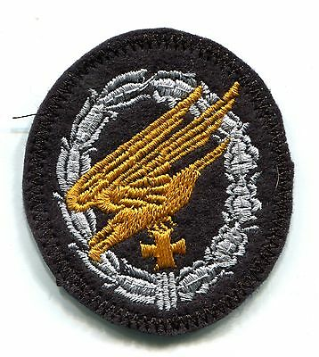 WWII German Ground Assault Badge Iron Cross Silver on Black Wool Patch LW Panzer
