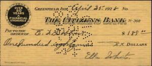 1928 The Citizens Bank Check E.L. Dobbins