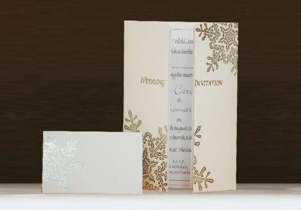 Personalised Wedding Invitations- Snowflake Winter  Christmas Day  Evening