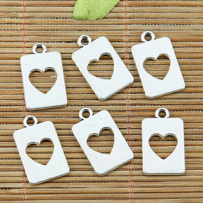 18pcs tibetan silver color heart hole in center design charms EF2352