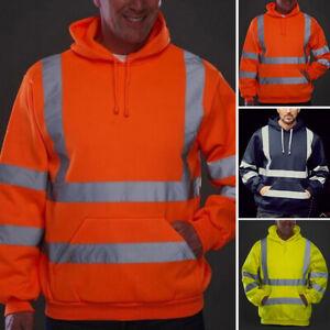 Men-039-s-Hi-VIS-Vest-Reflective-High-Visibility-Coat-Hooded-Swear-Pullover-Outwear