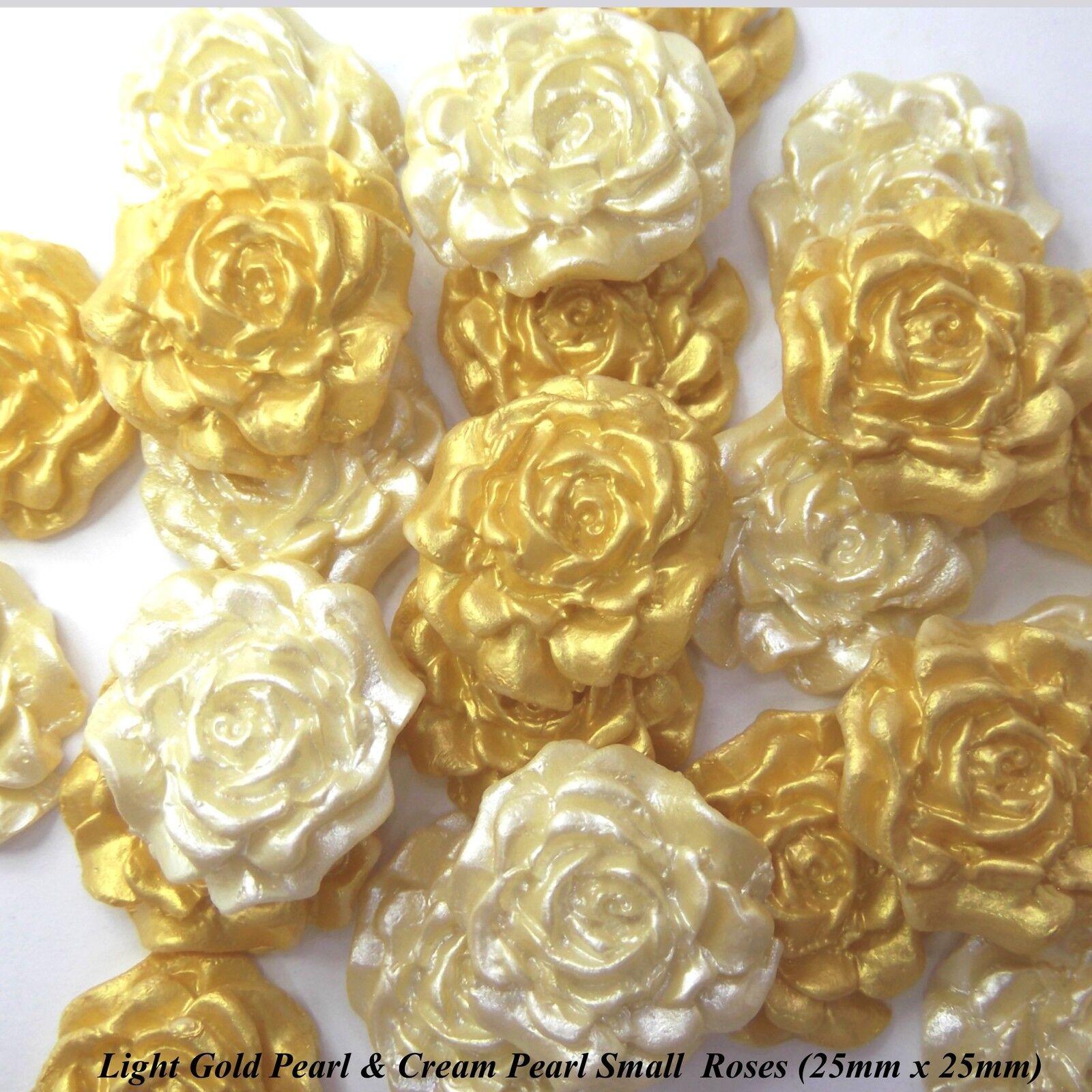 50 o 100 oro Crema Perle di Zucchero rosa Wedding Cake decorazioni 2 dimensioni 25   30mm