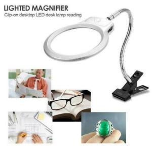 UK-5x-Magnifier-Glass-Lamp-Clip-On-Clamp-With-LED-Light-Stand-Magnifying-Loupe
