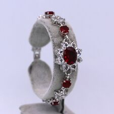 Pretty Flower Red rystal Cubic Zirconia 18K White Gold Plated Bracelet for Women