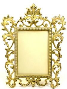 "Cast Iron Brass Art Nouveau Ornate Stand Up Picture Frame Photo Glo-Works 12""x9"""