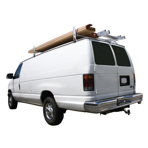 Pilot White Steel Van Ladder Rack Fits Van with Rain Gutters No Drilling 500lbs