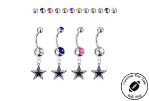 Dallas Cowboys Silver Belly Button Navel Ring NEW Customize Gem Color