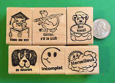 Teachers' French Only Rubber Stamps, Set of 6,