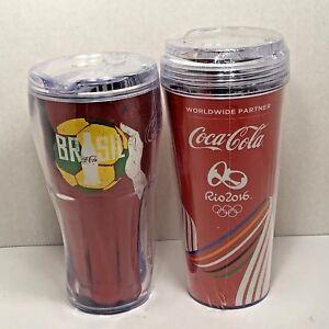 2-Sealed-Tumblers-ROYAL-CARIBBEAN-amp-COKE-Commemorating-Brazil-Soccer-Olympics