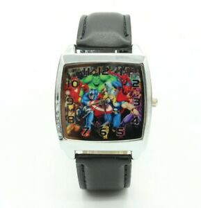 Marvel-DC-Avengers-Hulk-Iron-Man-Leather-Quartz-Steel-Square-Wrist-Watch-Black