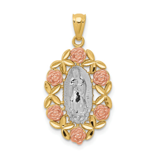 14k Two-Tone Gold Our Lady Of Guadalupe Pendant With Rose Gold Flowers 23x15mm