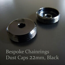 Standard 22mm Black DUST CAPS Set for modern cranks Campy, Shimano, Sugino