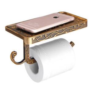 Toilette-Rouleau-Papier-Tissu-Etagere-Support-Ancien-Plate-Forme-Telephone-Mural