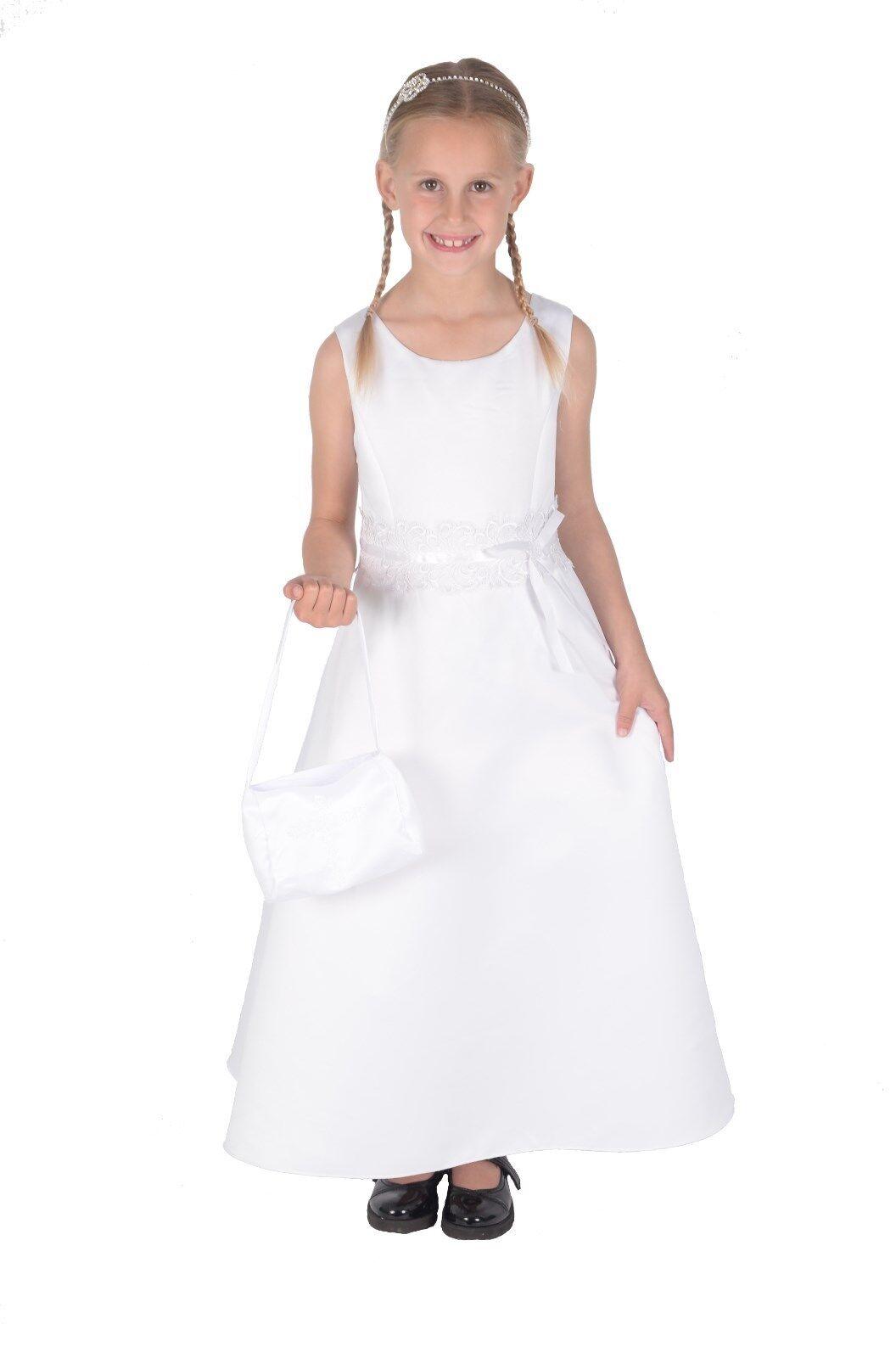 Girls Satin Holy Communion Dress with Handbag White Ivory 7-8 to 14-15 Years