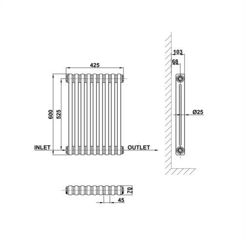 Traditional Column Radiator Cast Iron Style Horizontal Vertical Vintage Rads