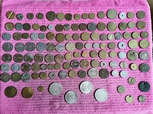 Job Lot Of World Tokens, medals, copy coins and other