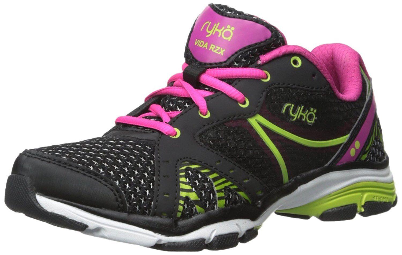 RYKA Womens Vida Rzx Cross-Training Shoe, Black/Ryka Pink/Lime Blaze, 8 M US