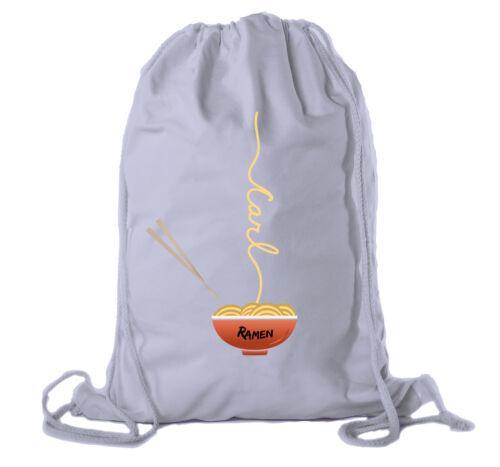 Ramen noodle Backpack Personalized Drawstring Bag Cotton Canvas Cinch Backpacks