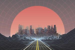 1980s-Style-Retro-Digital-City-Landscape-Sunset-Poster-12x18-inch