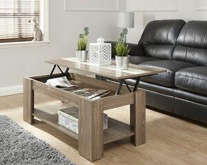 Lift Up Modern Coffee Table Storage In Walnut Espresso White Or Oak