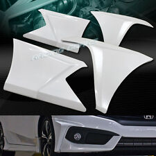 PAINTED WHITE FRONT+REAR BUMPER LIP BODY KIT 4PC FIT 16-17 HONDA CIVIC SEDAN/4DR