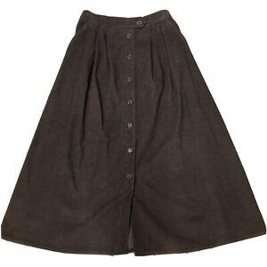 Vintage 80's Koret Brown Midi Corduroy Skirt Pleated 12 Button Front Pockets