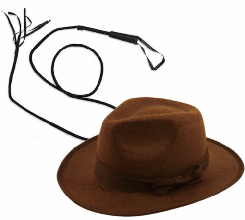 Deguisements adultes marron feutre explorer chapeau avec bull whip facultatif safari western