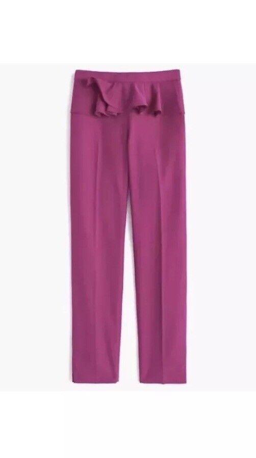 NWT JCREW Size 4 Slim trouser with ruffle waist in wool flannel - Pink