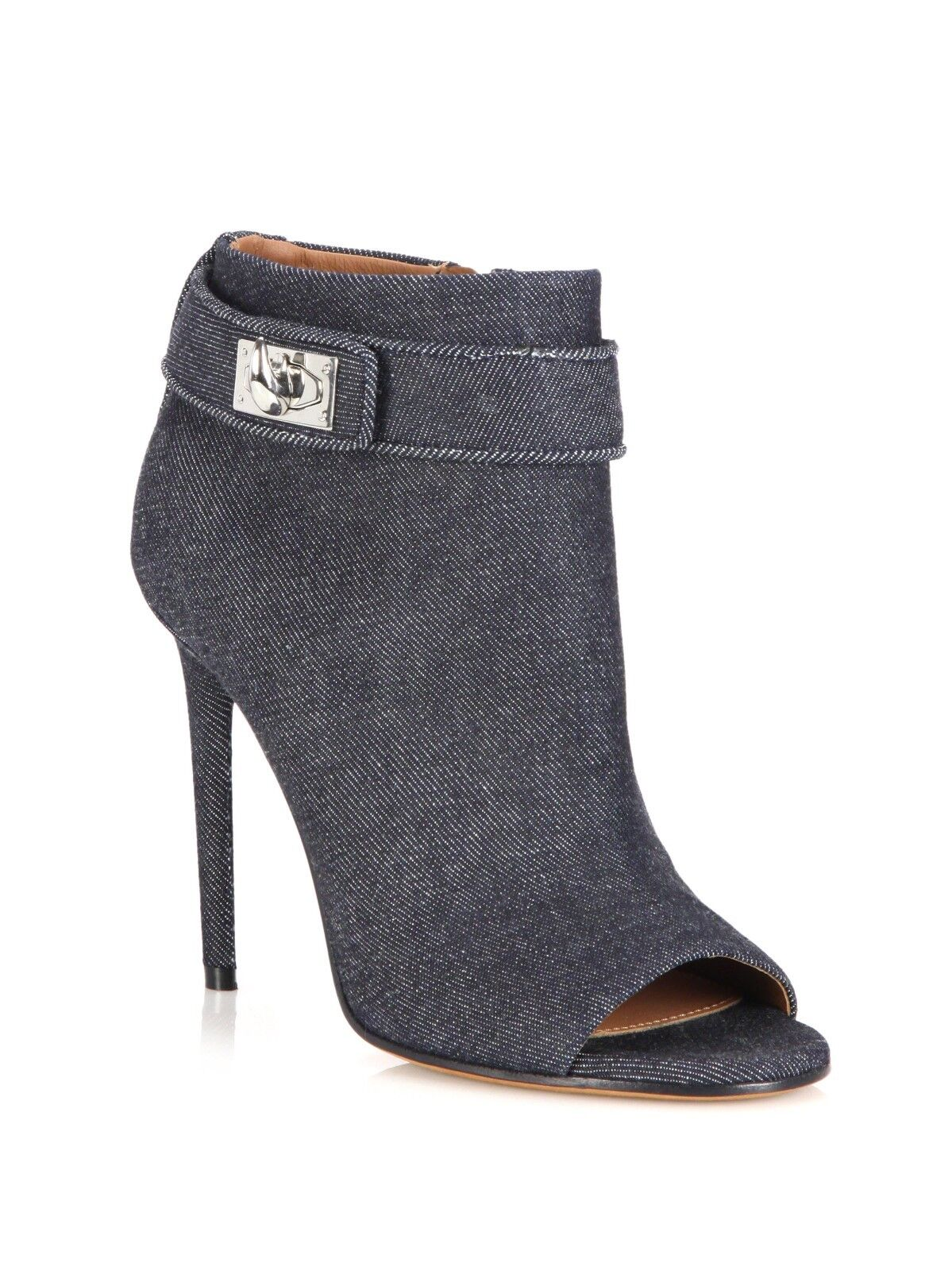 New Givenchy Shark Tooth Lock Denim Peep Toe Ankle Stiefelie Stiefel Sz 39.5 9.5 RARE