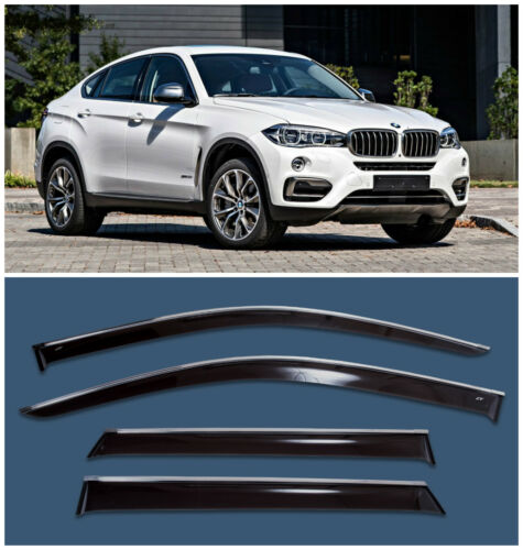 Chrome Trim Side Window Visors Guard Vent Deflectors For BMW X6 F16 2014-2018