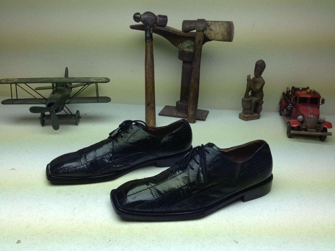 Dedo del pie cuadrado Giorgio Brutini Negro Piel De Serpiente lazada punta del ala Zapatos De Cuero 13m