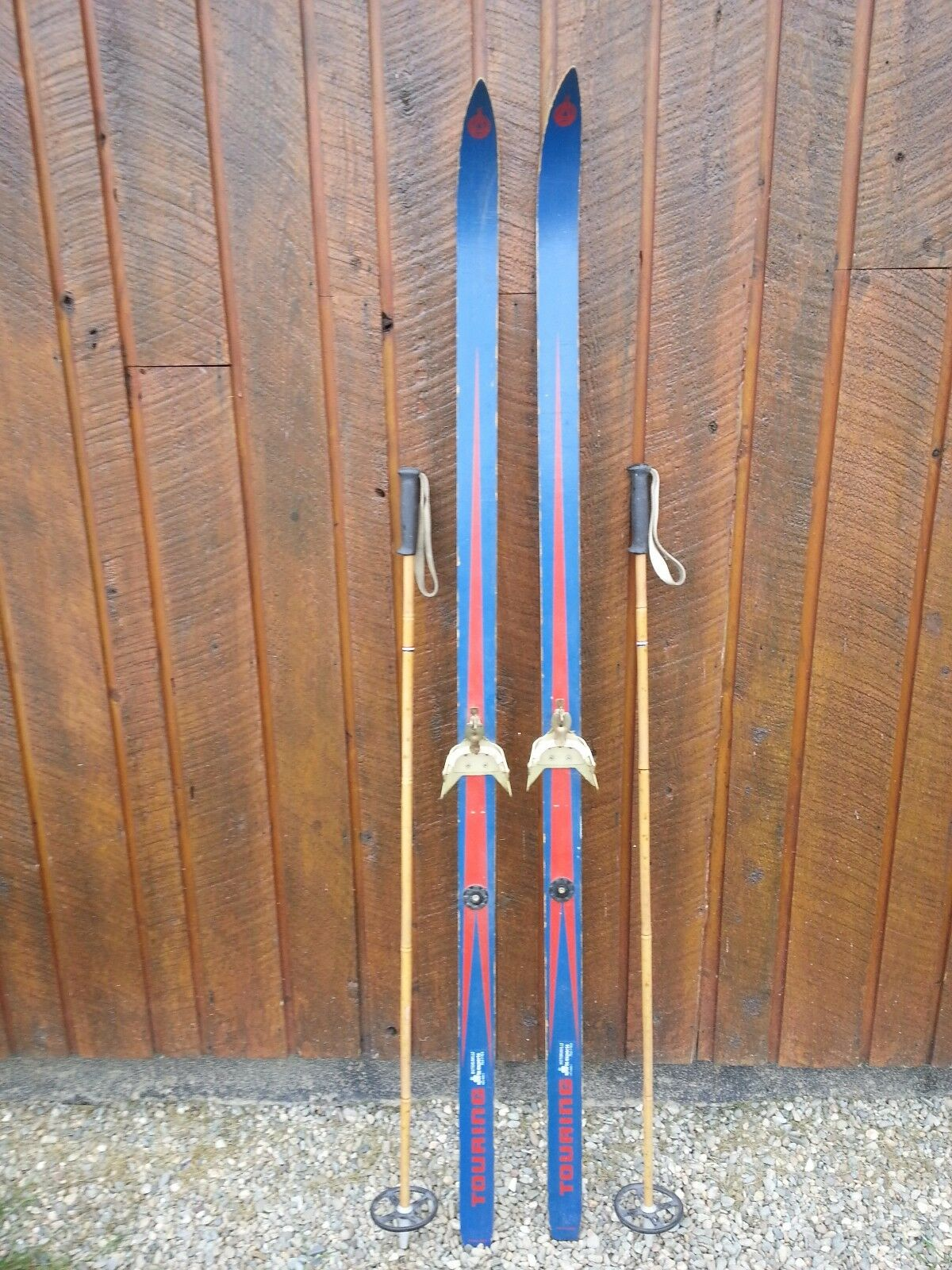 Vintage Wooden 69  Long Skis RED and blueE Finish + Bamboo Poles