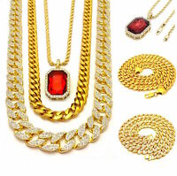 MENS ICED OUT 3 CHAINS SET LAB DIAMOND GOLD FINISH MIAMI CUBAN LINK NECKLACES