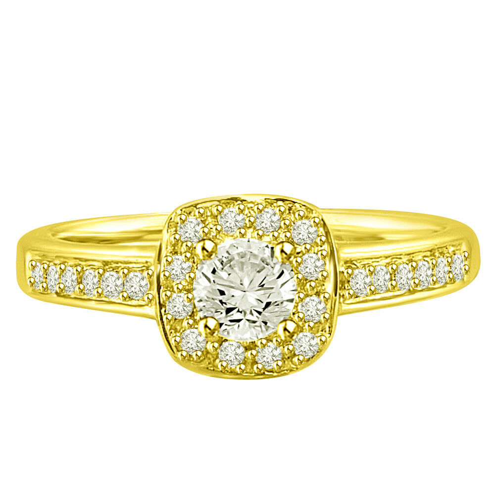 0.50TCW L-M VS2 SDJ Cert Real Diamond Engagement Bridal Ring in 18kt Yellow gold