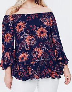 Ladies-Autumn-Floral-Top-Plus-Size-24-26-28-30-Ex-Evans-Purple-Blouse-204