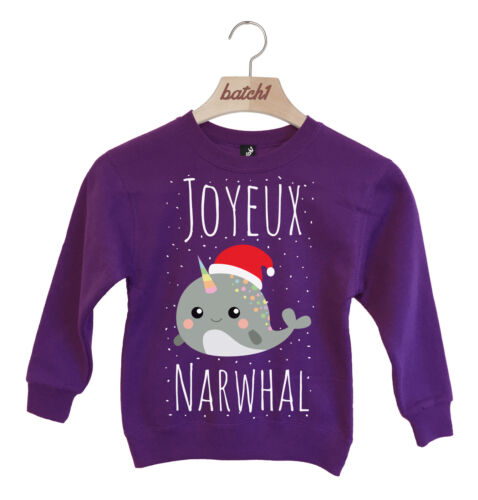 batch1 Joyeux Noël NARVALO GADGET NATALE BAMBINI DA FESTA Felpa Maglioncino