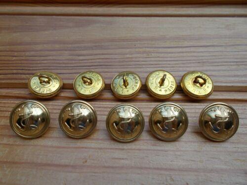 lot 10 boutons bombés ancre de marine métal doré couleur or 20 mm