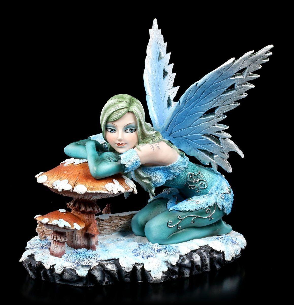 Invierno Elfos Figura - Salina con Seta - Fantasy Herbstelfe Hada Decoración