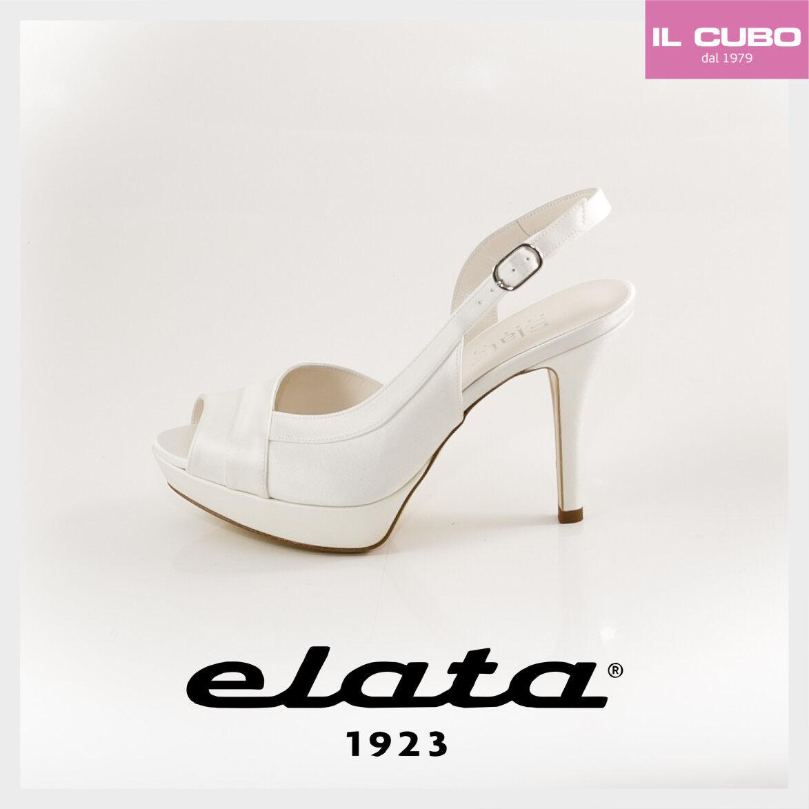 ELATA SANDALO SPOSA CREPE SATIN COLORE BIANCO TACCO H H H H TACCO 10,5   b9f080