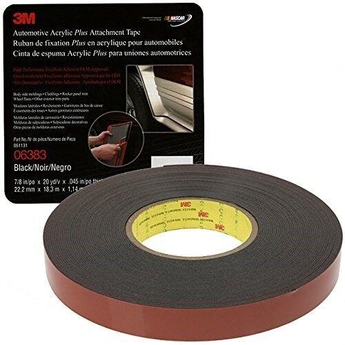 3M 06383 Automotive Acrylic Plus Attachment Tape Black 7/8
