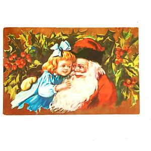 Vintage Postcard Santa St.Nick Saint Nicholas Father Christmas Girl Hug Hugging