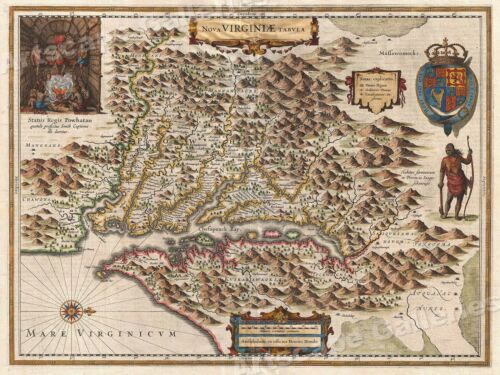 1630 Virginia Colonial Jamestown Historic Vintage Style Wall Map 24x32