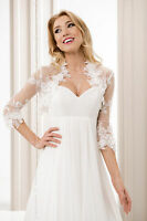 Wedding Ivory Or White Top Bridal Lace Bolero/shrug/jacket Uk 8 10 12 14