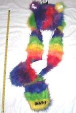Rainbow Fur Frax Fluffy Hoodie Earmuff Beanie Hat Scarf Mittens Winter Wear Gear