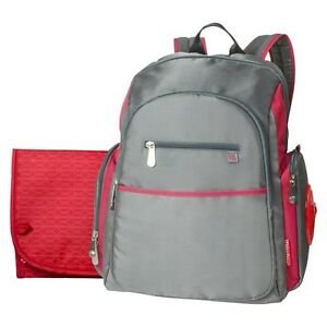 fisher price ripstop diaper bag backpack grey red. Black Bedroom Furniture Sets. Home Design Ideas